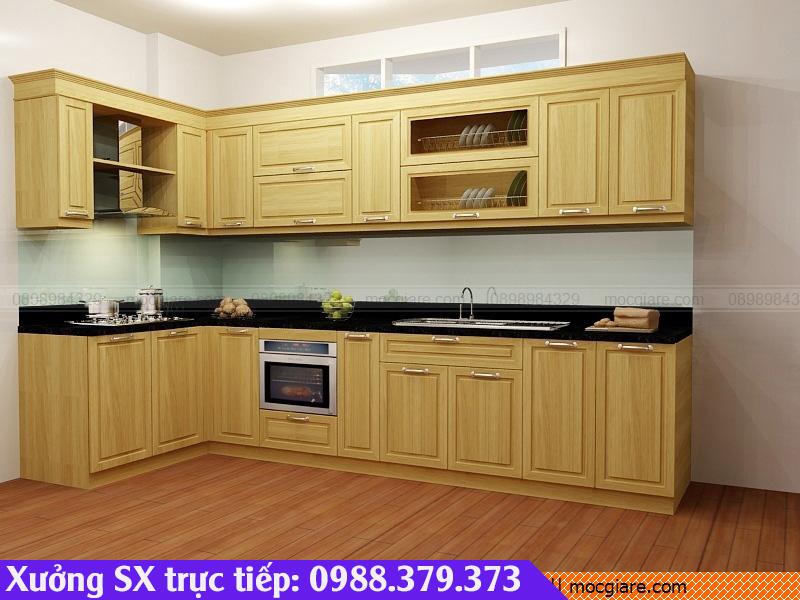 Đặt đóng mẫu tủ bếp bằng gỗ sồi ở Bình Dương